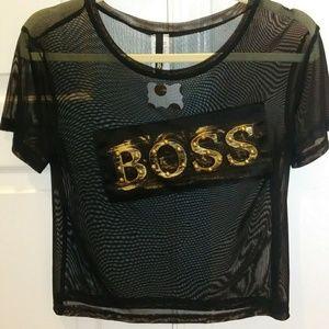 Tops - Boss crop top mesh shirt
